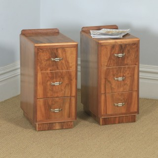 Antique English Pair of Art Deco Figured Walnut Bedside Chests (Circa 1930)