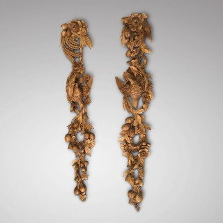 Pair of carved limewood drops English circa 1860