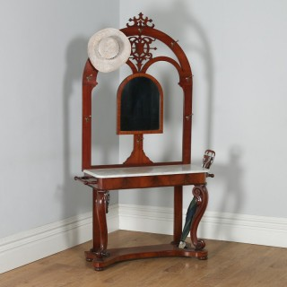Antique English Victorian Mahogany & Marble Coat, Hat, Stick & Umbrella Hallstand With Mirror (Circa 1870)