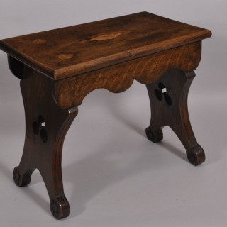 Antique Late 19th Century Oak Slab Ended Stool
