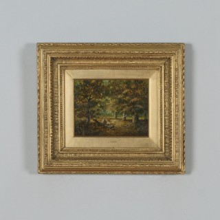 Antique English Small Oil Painting of Autumnal Forest Country Scene Attributable to Joseph Thors (Circa 1870)