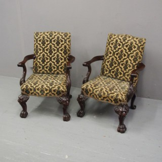 Pair of Irish Chippendale Style Small Armchairs