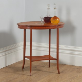 Antique English Edwardian Sheraton Style Satinwood & Marquetry Oval Occasional Centre Side Table (Circa 1905)