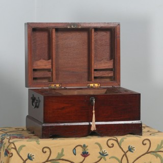 Antique Victorian Colonial Campaign Teak Writing / Jewellery / Sewing Box (Circa 1870)