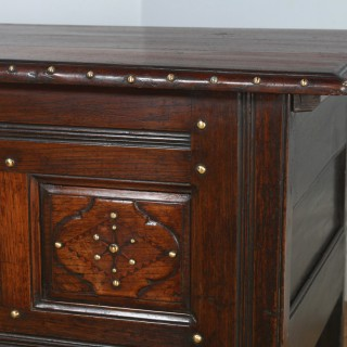 Antique French Brittany Breton Chestnut & Brass Inlaid Joined Chest / Coffer (Circa 1800)