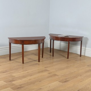 Antique English Pair of Georgian Mahogany Demi Lune Console Side Hall Tables (Circa 1790)