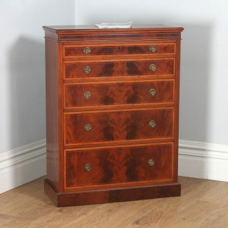 Antique English Georgian Sheraton Style Flame Mahogany & Satinwood Inlaid Chest of Drawers (Circa 1900)