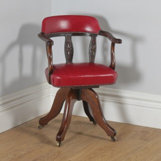 Antique English Victorian Oak & Crimson Red Leather Revolving Office Desk Arm Chair (Circa 1890)