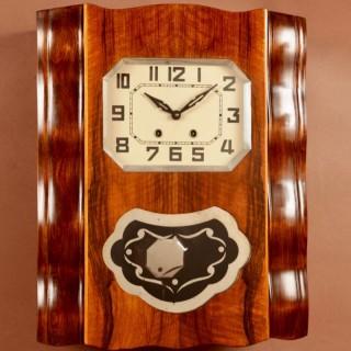 A Stylish French Art Deco Walnut Wall Clock Circa 1940.