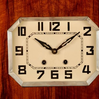 A Stylish French Art Deco Walnut Wall Clock Circa 1940.