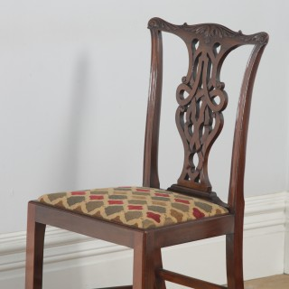 Antique English Set of Eight Georgian Chippendale Style Mahogany Dining Chairs (Circa 1900)