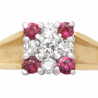 0.24 ct Ruby and 0.25 ct Diamond 18 ct Yellow Gold Dress Ring - Contemporary 2003