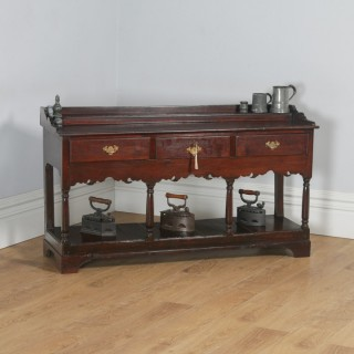 Antique Welsh Georgian Oak Potboard Low Dresser Base Sideboard (Circa 1800)