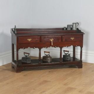 Antique Welsh Georgian Oak Potboard Low Dresser Base Sideboard (Circa 1800)