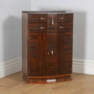 Antique English Art Deco Coromandel & Walnut Two Door Tallboy Compactum Chest of Drawers (Circa 1930)