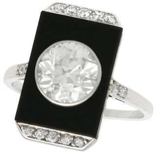 2.56 ct Diamond and Black Onyx, Platinum Dress Ring - Art Deco - Antique Circa 1920