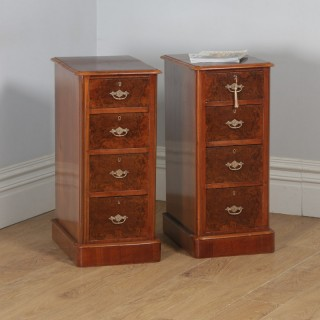 Antique Pair of English Victorian Burr Walnut Bedside Chests / Tables / Nightstands (Circa 1880)
