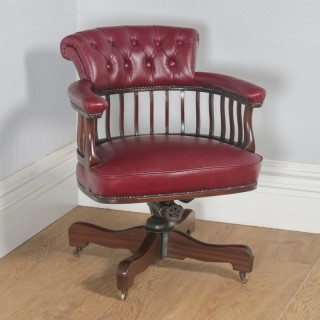 Antique English Edwardian Mahogany & Red Leather Revolving Office Desk Arm Chair (Circa 1900)
