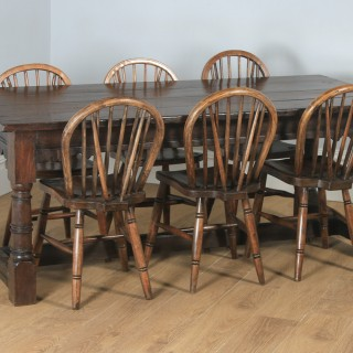 "Antique English 17th Century Charles II 6ft 3"" Solid Oak Farmhouse Kitchen Refectory Dining Table (Circa 1680)"