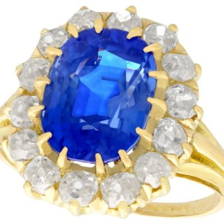 4.81ct Sapphire and 1.26ct Diamond, 18ct Yellow Gold Cluster Ring - Antique French Circa 1930