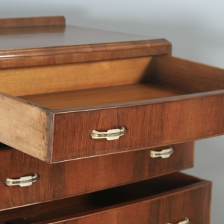 Antique English Art Deco Bow Front Burr Walnut Bedroom Chest of Drawers / Tallboy (Circa 1930)