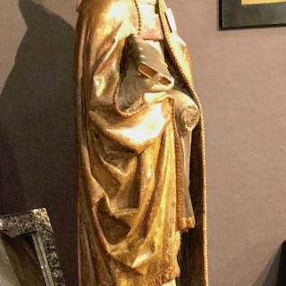 Woodcarving Of A Bishop 16th Century