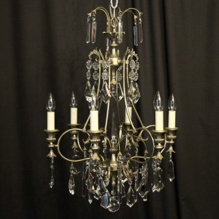 French Silver Gilded Birdcage Chandelier