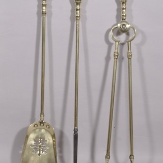Antique 19th Century Brass Three Piece Fire Set