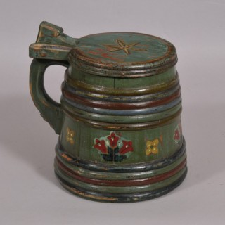 Antique Treen 19th Century Painted Staved Lidded Tankard