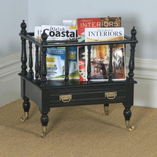 Antique English Victorian Walnut Black Ebonised Canterbury Magazine Rack Tidy (Circa 1870)