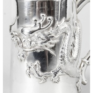 Antique Chinese Solid Silver Mug by Hung Chong With Dragon Monogram Ca 1900