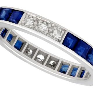 0.72ct Sapphire and 0.30ct Diamond, 18ct White Gold Full Eternity Ring - Antique Circa 1930