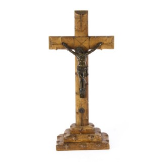 Antique French Dark Patinated Altar Corpus Christi Hardwood Cross & Base C1900