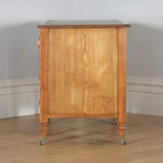 Antique English Victorian Ash & Green Leather 4ft Office Pedestal Desk (Circa 1890)