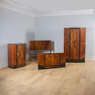 Antique English Art Deco Figured Walnut Three Piece Bedroom Suite – Bed Wardrobe Chest of Drawers (Circa 1930)