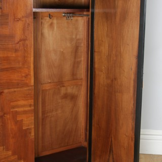 Antique English Art Deco Figured Walnut Three Piece Bedroom Suite – Bed Wardrobe Chest of Drawers (Circa 1930)