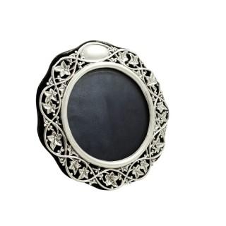Antique Edwardian Sterling Silver Circular Photo Frame 1901