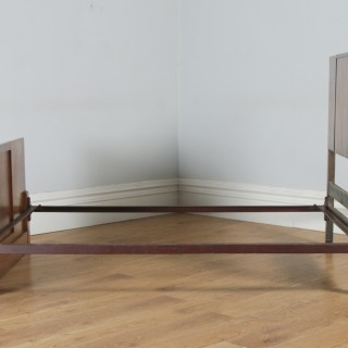 "Antique English Art Deco Figured Walnut 4ft 6"" Double Size Bed (Circa 1930)"