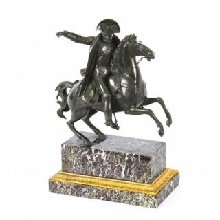 Antique Patinated Bronze Equestrian Statue of Napoleon Bonaparte Ca 1870 19th C