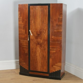 Antique English Art Deco Figured Walnut & Ebony Wardrobe / Armoire (Circa 1930)