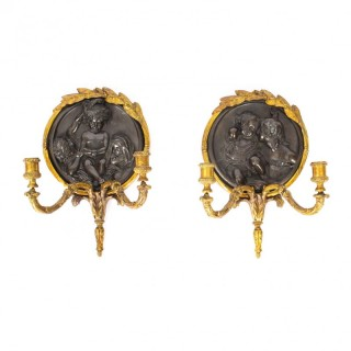 Antique Pair Beautiful Ormolu and Bronze Wall Sconces Dated 1848 19th C