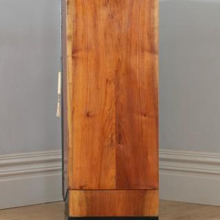 Antique English Art Deco Figured Walnut & Ebony Tallboy Compactum Chest of Drawers (Circa 1930)
