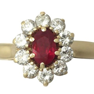 0.60 ct Ruby and 0.62 ct Diamond, 18 ct Yellow Gold Cluster Ring - Vintage French Circa 1980