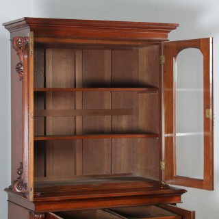 Antique Anglo Indian Victorian Colonial Campaign Mahogany Two Door Glazed Library Office Bookcase Cupboard (Circa 1870)
