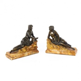 Antique Pair Bronze Semi-Nude Classical Ladies Sculptures / Bookends 19th Cent