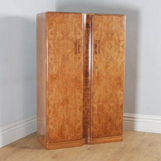Antique English Art Deco Burr Walnut Two Door Armoire Wardrobe by Ray & Miles of Liverpool (Circa 1930)