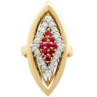 0.40 ct Ruby and 0.60 ct Diamond, 18 ct Yellow Gold Dress Ring - Vintage 1978