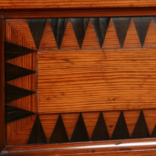 """Antique English Victorian Gothic Pitch Pine & Ebony 4ft 6"""" Double Size Bed (Circa 1890)"""