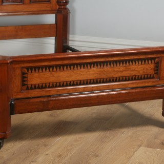 "Antique English Victorian Gothic Pitch Pine & Ebony 4ft 6"" Double Size Bed (Circa 1890)"