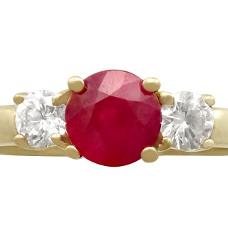 1.32 ct Ruby and 0.46 ct Diamond, 18 ct Yellow Gold Trilogy Ring - Contemporary Circa 2000